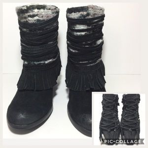 Naughty Monkey Black Suede Leather Fringed Booties